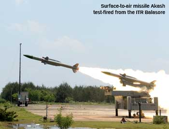 Surface-to-air missile Akash test-fired from the ITR Balasore